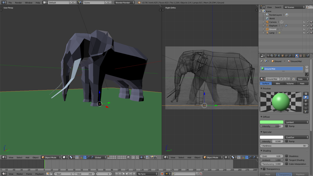 Low Poly Elephant in Blender