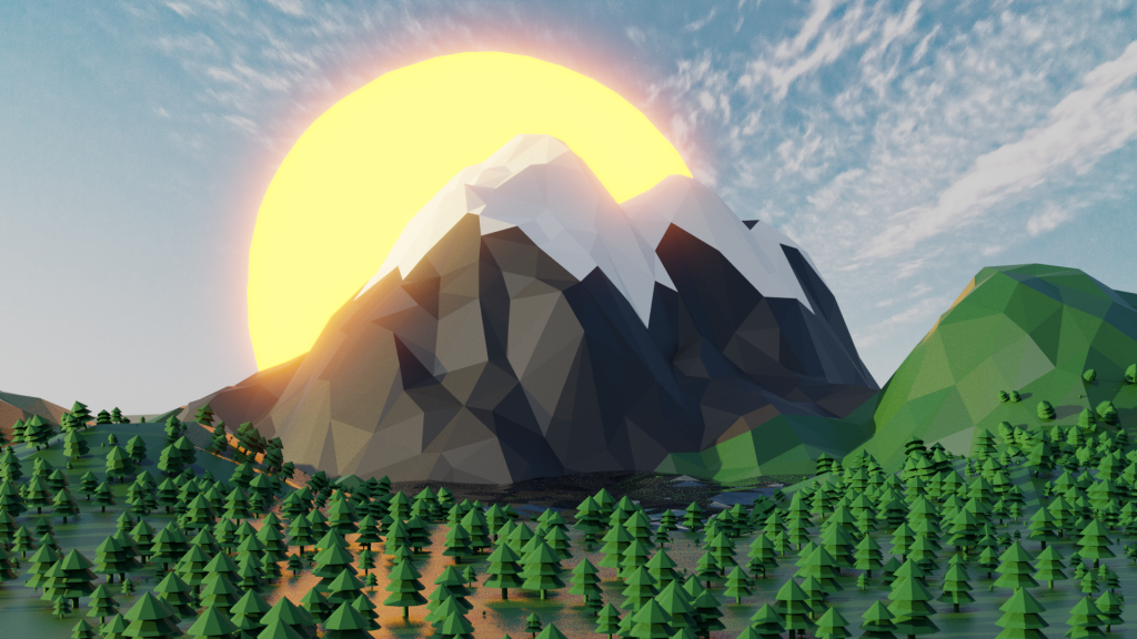 Mountain Landscape With Glowing Sun